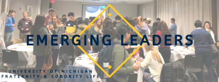 """The background contains a room with white-linen banquet tables and students interacting in an activity with cards. In the forefront, the words """"Emerging Leaders"""" and """"The University of Michigan Fraternity & Sorority Life"""" appear in blue."""