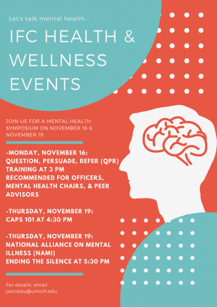 Copy of flyer about mental health events